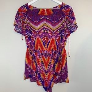 Free People Dream All Night Purple & Blue Romper